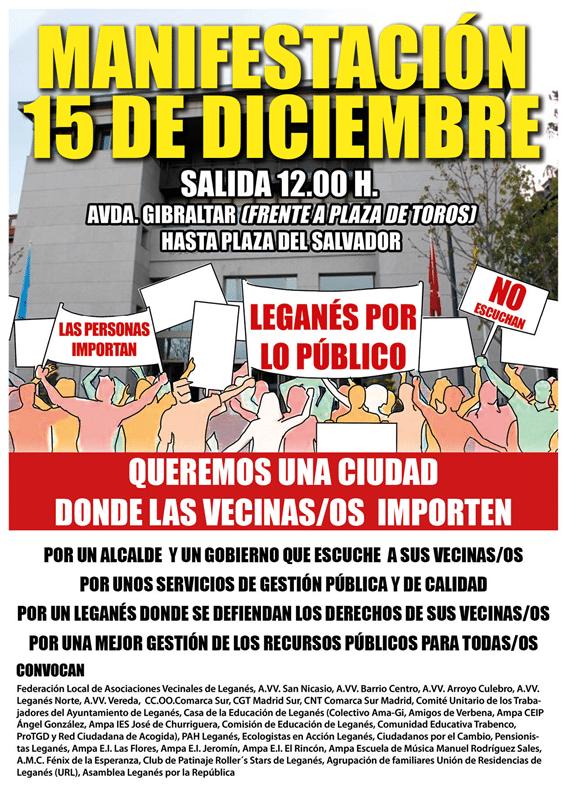 ULEG apoya y se unirá a la manifestación vecinal el 15D en defensa de los servicios públicos y contra el gobierno local de Leganés
